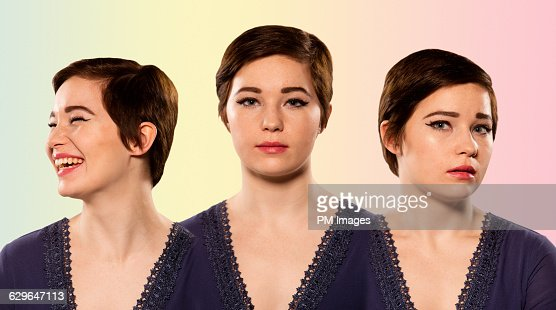 Young woman mood collage : Stock Photo