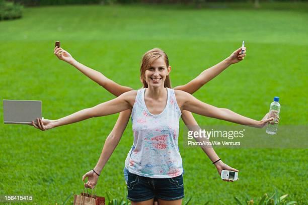 Young woman multitasking