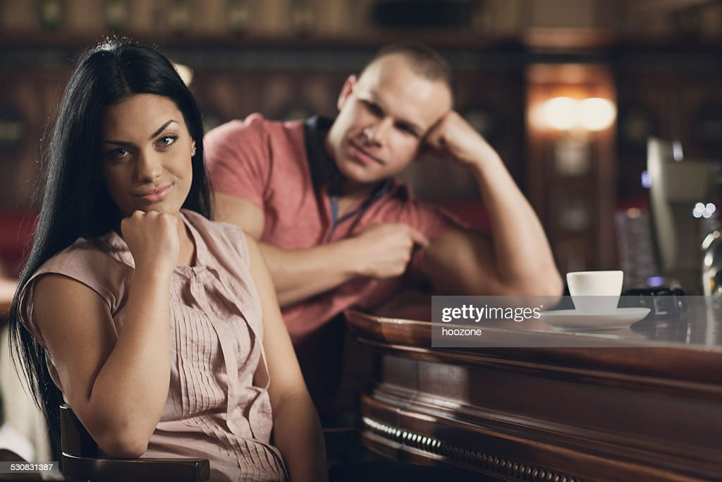 Young woman on a bad date : Stock Photo