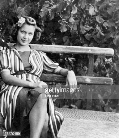 Young Woman on a Bench in 1931 Black And White