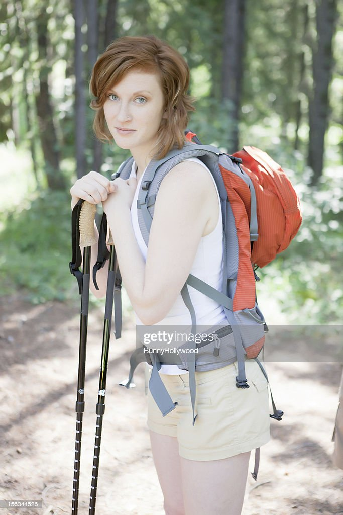 young woman on a hike : Stock Photo