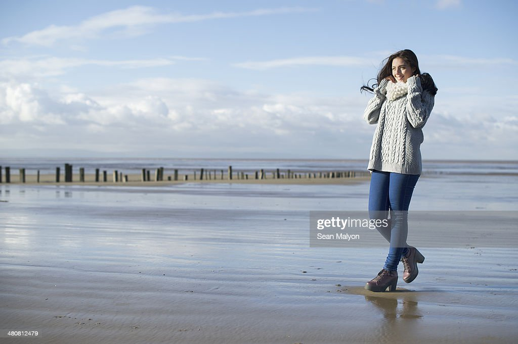 Young woman on beach, Brean Sands, Somerset, England : Stock Photo