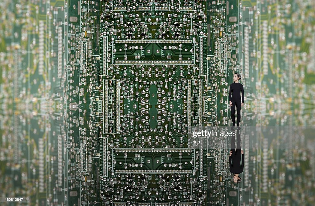 Young woman on circuit board, digital composite