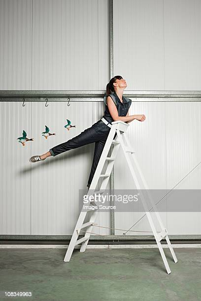 Young woman on stepladders with flying ducks on wall