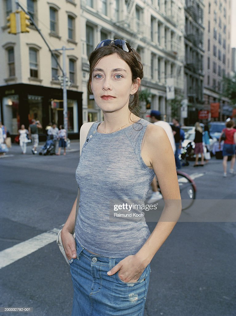 Young woman on street,  portrait : Stock Photo