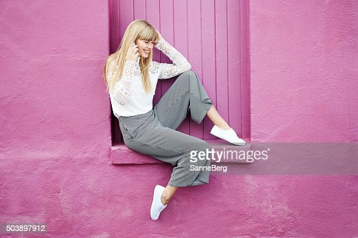 Young woman on the phone : Stock Photo