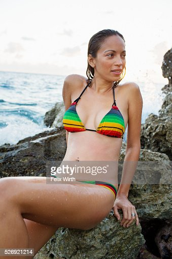 Young woman on tropical beach : Stock Photo