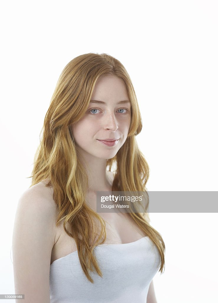 Young woman on white background. : Stock Photo