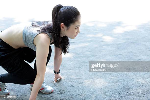 young woman outdoor exercise,running