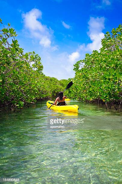 Young woman paddling on kayack among tropical mangrove trees
