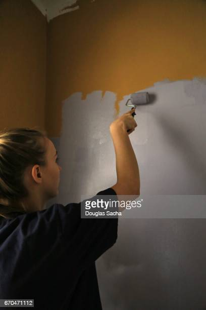 Young Woman Painting Wall At Home