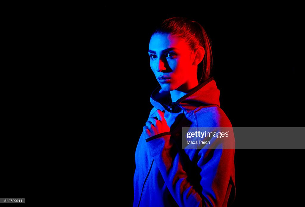 young woman photographed with creative lighting