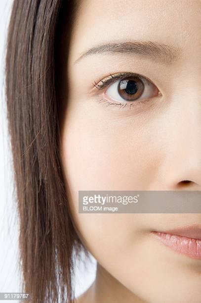 Young woman, portrait, close-up, studio shot