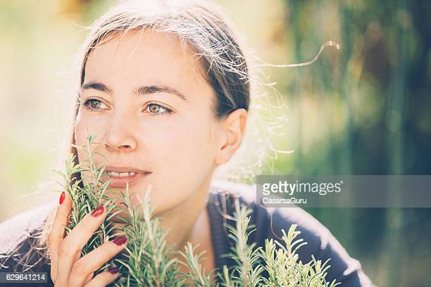Young Woman Portrait in her Vegetable Garden