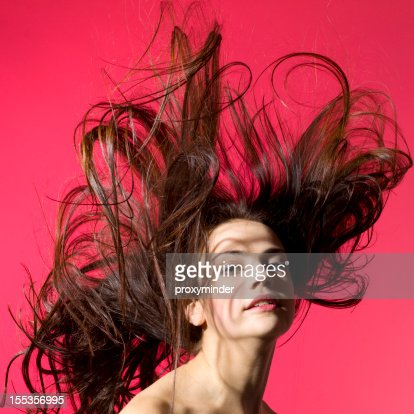 Young woman portrait with beautiful hair : Stock Photo