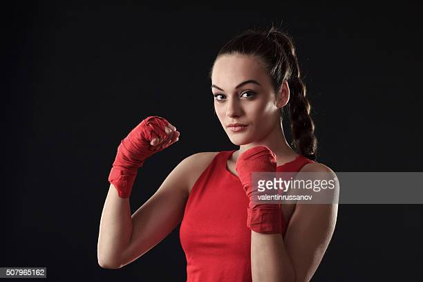Young Woman posing in Boxing Outfit -braid hair