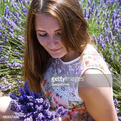 Young woman posing in lavender field : Stock Photo