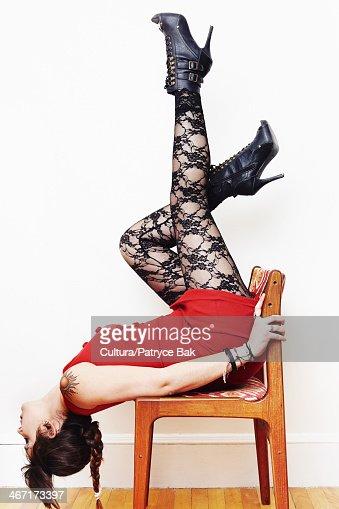 Mine very Nude girl upside down chair