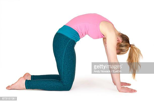 Young Woman Practicing Cat Pose Against White Background
