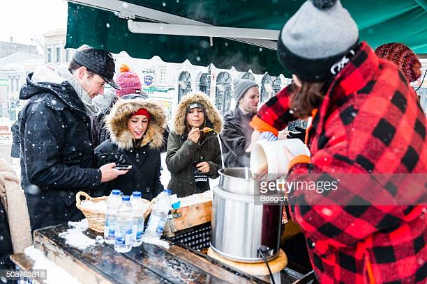 Young Woman Prepares Maple Syrup Treats in Montreal Canada