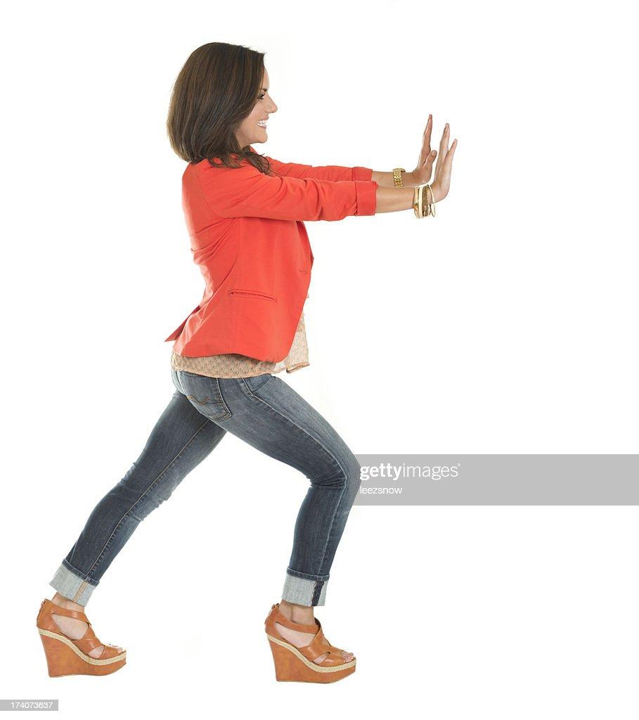Young Woman Pushing