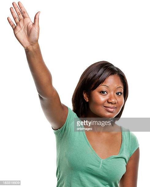 Young Woman Raises Her Hand