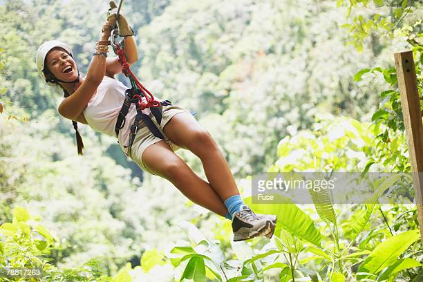 Young Woman Rappelling