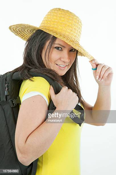 young woman ready go to trekking