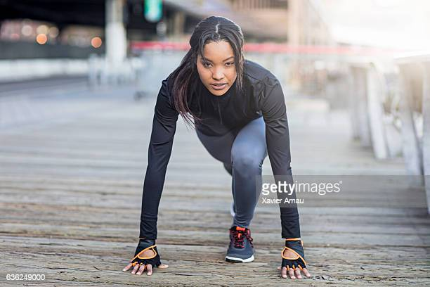 Young woman ready to start morning run