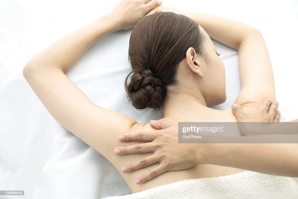 young woman receiving massage,woman in health spa : Stock Photo