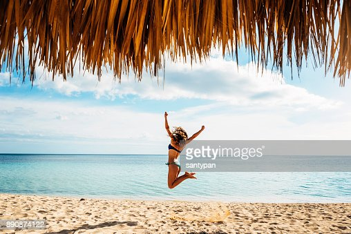Young woman relax on the beach. : Stock Photo