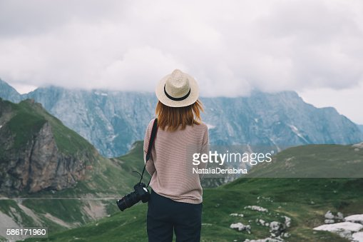 Young woman relaxing outdoor. Travel lifestyle : Stock Photo
