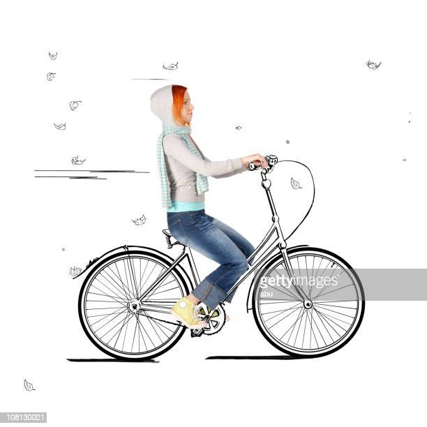 Young Woman Riding on Cartoon Bicycle
