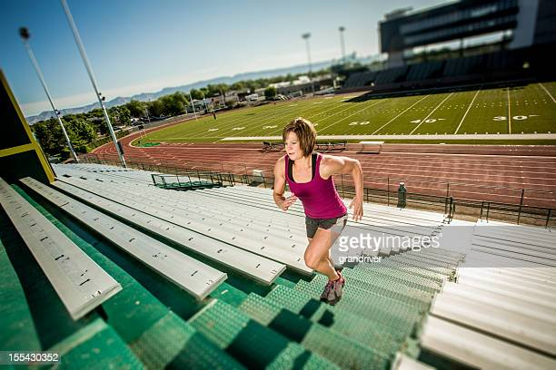 Young Woman Running Stairlaps