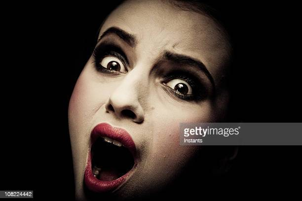 Young Woman Screaming, low key