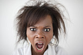 Young woman screaming