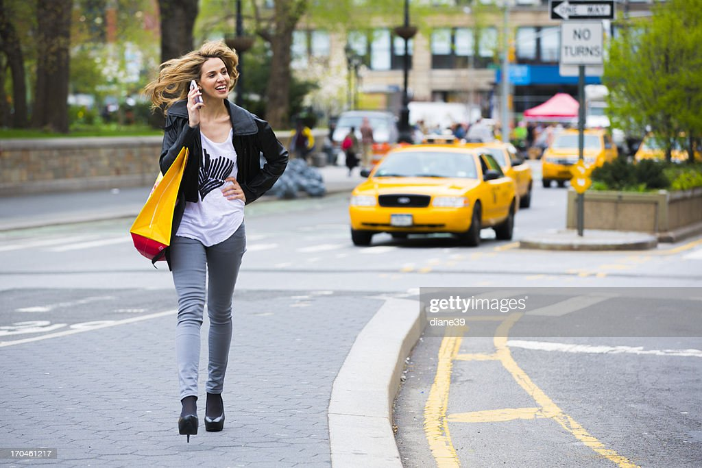 Young woman shopping in New York City