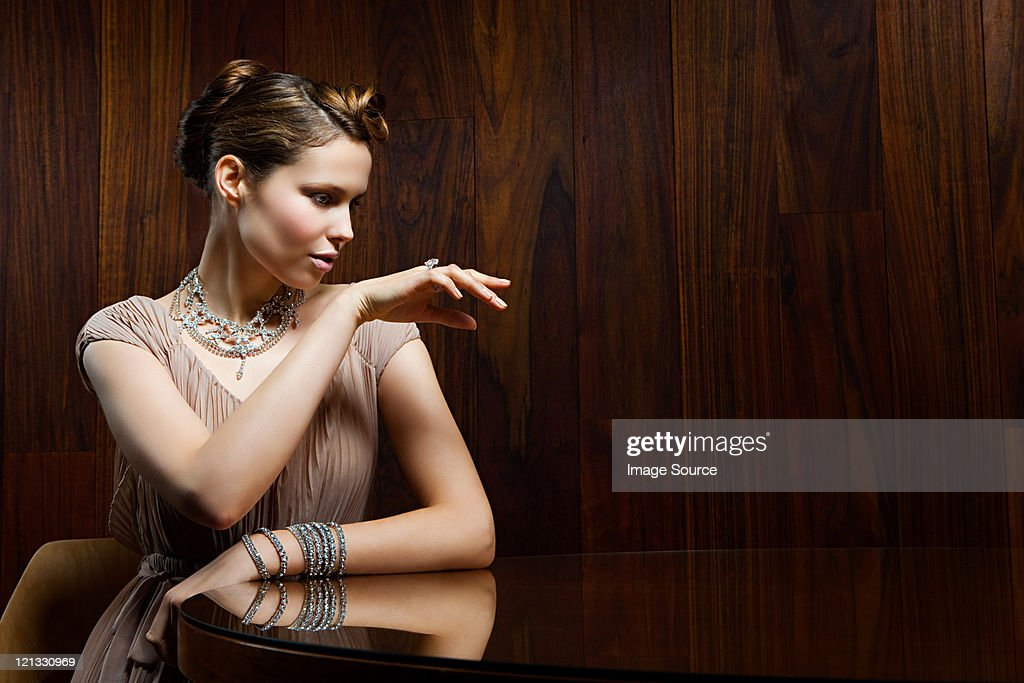 Young woman showing off ring