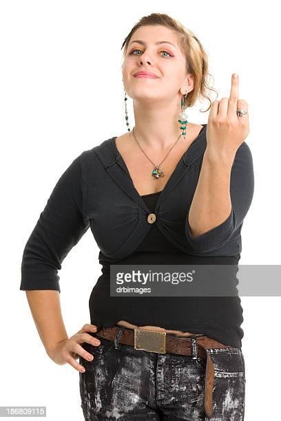 Junge Frau zeigt Finger Mitte