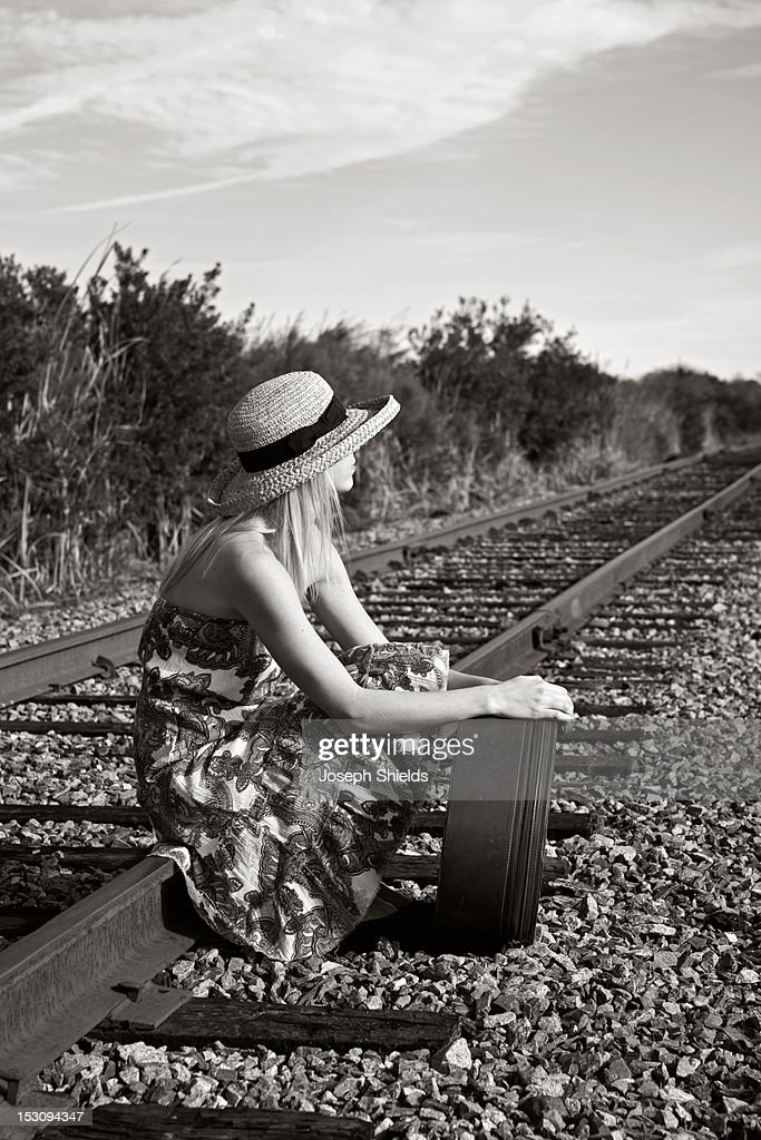 Girl Waiting For Train Royalty Free Stock Photography