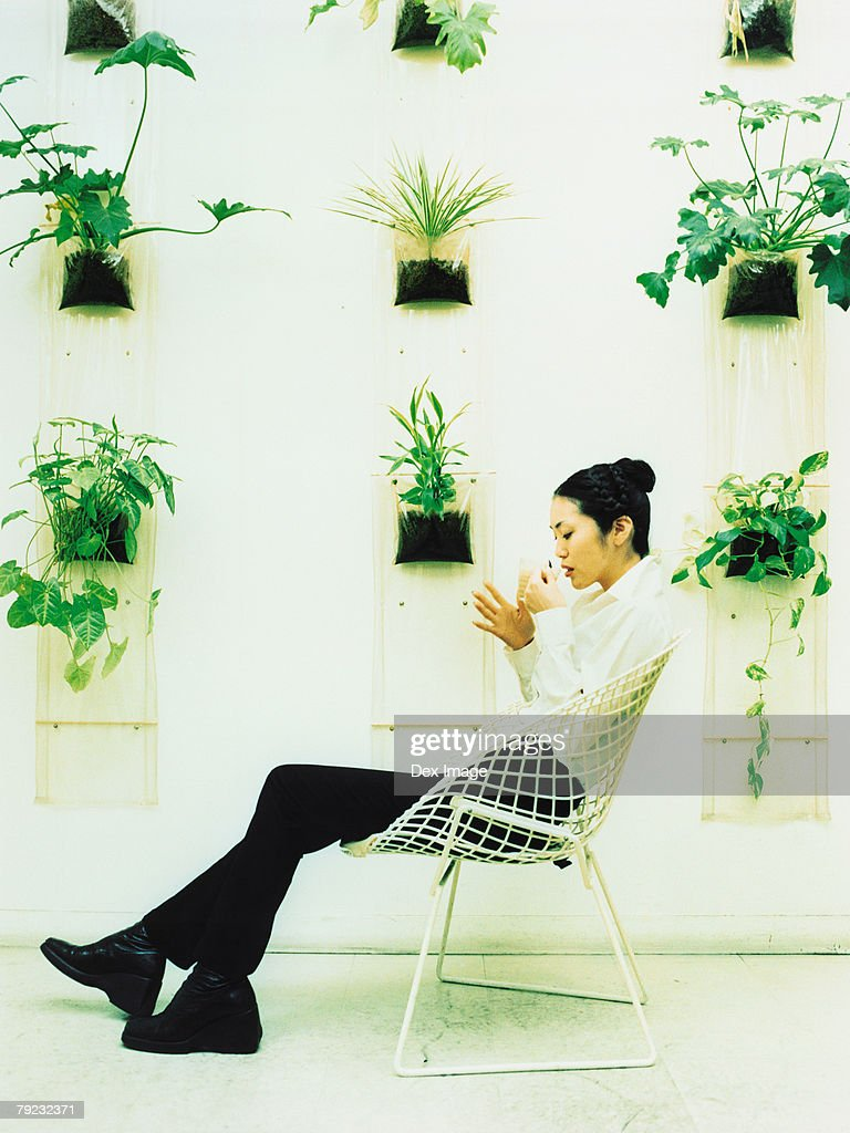 Young woman sitting on wire-framed chairs, potted plants decorated wall background : Stock Photo
