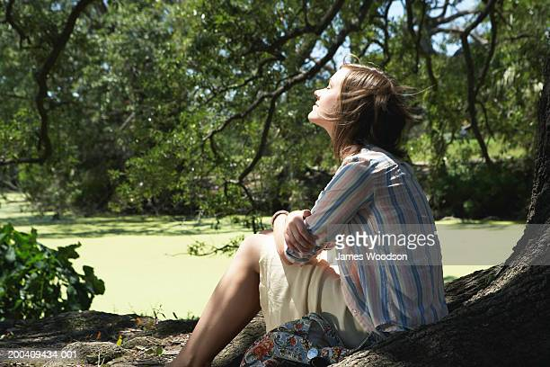 Young woman sitting under tree in park, hair blowing, side view
