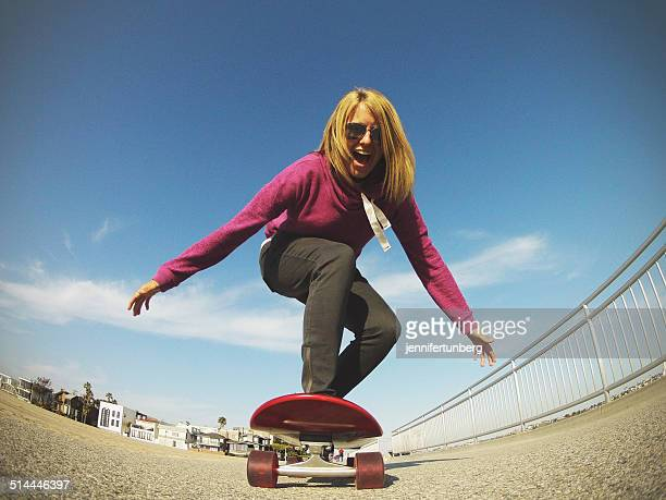 Young woman skateboarding, Los Angeles, California, America, USA