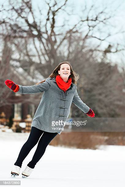 Young Woman Skater Enjoying the Winter Outdoor Skating Vt
