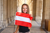 Happy young woman smile with austrian flag