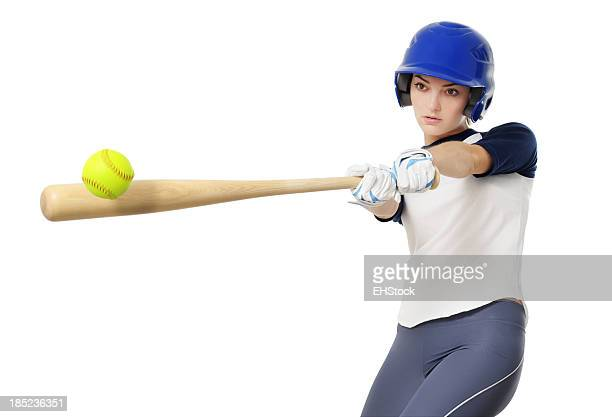Young Woman Softball Baseball Player Isolated on White Background