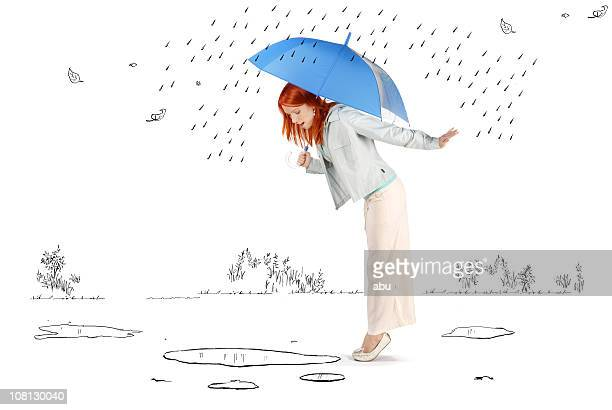 Young Woman Standing in Cartoon Rain and Puddles