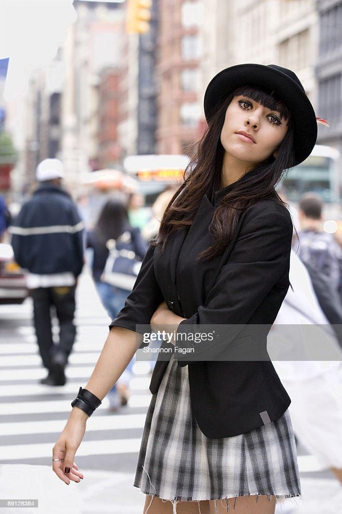 Young Woman Standing Near City Crosswalk : Stock Photo