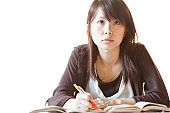 Young woman studying, Japan