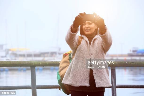 Young woman take is selfie, Helsingborg, Sweden